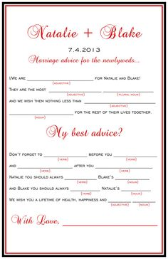 Simple Wedding Mad Libs Marriage Advice by ParraclanDesigns, $15.00