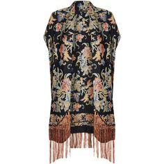 TOPSHOP Tall Jacquard Fringe Kimono ($130) found on Polyvore