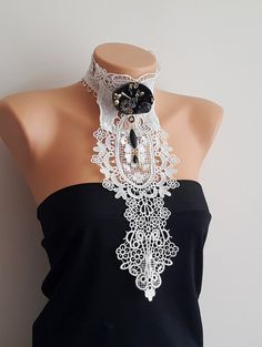 EXPRESS SHIPPING UNIQUE White Lace  Bib Choker #necklace #accessories #women #bracelet #necklace #earrings  #woman #gifts #bodyjewelry #boho #summershopping #trends  #haltertop #summertrend #summeraccessories #chokers  #barefootsandal #anklet #wedding