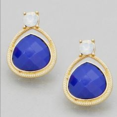Gold Tone & Blue Dainty Teardrop Jewel Earrings Gold Tone & Blue Dainty Teardrop Jewel Earrings Jewelry Earrings