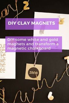 Transform a magnetic chalkboard with some DIY gold and white clay magnets. #homedecor #magnets #diy