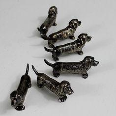 Knife holder. Vintage knife rests. dog. dachshund.  basset. Silver plated knife rest. French knife holder // D44