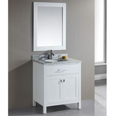 Add elegance to your bathroom with the London 30-inch single sink white bathroom vanity set. The set includes a cabinet and a matching mirror to outfit your powder room. Made of solid wood painted a s