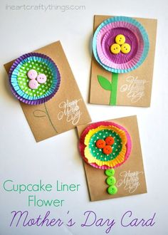 Bright and Cheerful Kid-Made Mother's Day Flower Card made from cupcake liners. Any mom would love to get this little diy card from her kids on Mother's Day, soo cute!