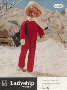 Doll Knitting Pattern Clothes for Teenage Doll Vintage. Trousers and Jacket Doll Knitting Pattern Doll's outfit patterns including poncho, bikini and french berets, striped top and trousers. Vintage knitting patterns for coats. Sewing Barbie Clothes, Knitting Dolls Clothes, Barbie Clothes Patterns, Crochet Clothes, Clothing Patterns, Crochet Dolls, Knit Crochet, Barbie Knitting Patterns, Doll Patterns