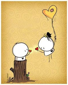 i meet you my love Love Doodles, Funny Love, Cute Love, My Love, Cartoon Drawings, Easy Drawings, Cute Couple Cartoon, Sketches Tutorial, Cute Cartoon Wallpapers