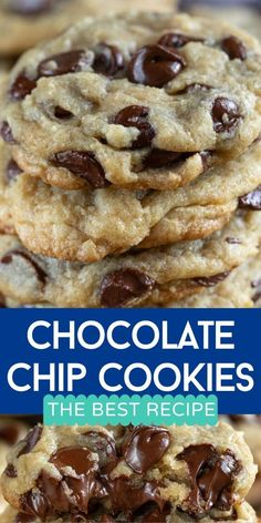 Best Chocolate Chip Cookies Recipe, Chewy Sugar Cookies, Chocolate Recipes, Cookies Et Biscuits, Chocolate Chocolate, Christmas Cookies, Basic Cookie Recipe, Basic Cookies, Easy Cookie Recipes