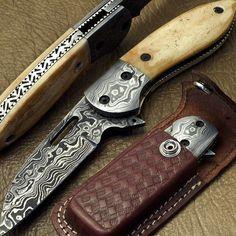 CUSTOM HAND MADE DAMASCUS POCKET FOLDING KNIFE  |  STAINED CANEL BONE LINER LOCK