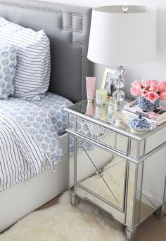Julia and Anel Dzafic's Master Bedroom Design and Decor - Diy Furniture Bedroom Mirrored Side Tables, Mirror Bedside Table, Bedside Table Styling, Dresser Styling, Dresser Table, Glass Dresser, Console Table, Mirrored Furniture, Mirrored Nightstand
