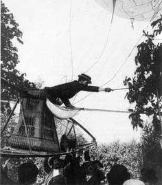 Santos-Dumont landing his airship