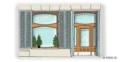 Facade, Madrid, Watercolor, Mirror, Store, Illustration, Furniture, Home Decor, Gourmet