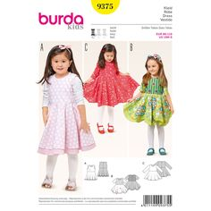 This wonderfully styled dress with a bell-shaped double skirt is guaranteed to make little girls happy! Views A and B have a long slip with contrasting fabric that make the skirt fuller. View C has an eye-catching dipped hem. A Burda Style sewing pattern.