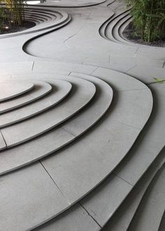Flowing organic steps landscape architecture in Milan - Kengo Kuma