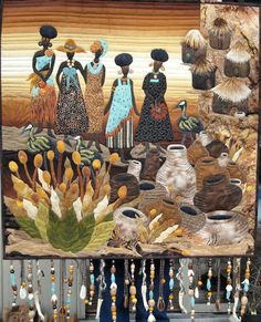In The Village African American Art, African Art, Quilting Projects, Quilting Designs, Landscape Art Quilts, African Quilts, Mini Quilts, Small Quilts, Textile Fiber Art