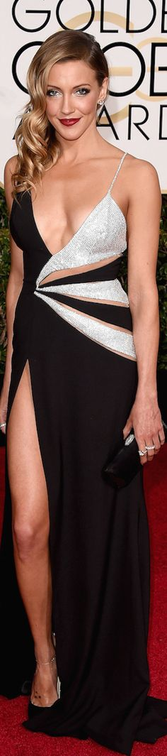 Katie Cassidy in Black Canary - LOOKandLOVEwithLOLO: 2015 Golden Globe Red Carpet