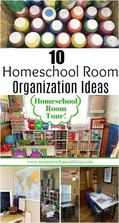 Feeling cluttered and disorganized? Check out these 10 homeschool room organization ideas to help you make the most of your homeschool. There are homeschool rooms here from many different homeschool moms. You are sure to find something that will work for your homeschool.