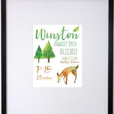 Custom Birth Stats Wall Art - Watercolor Nursery Decor - Woodland Animals Birth Announcement Customize your nursery wall art with your babys