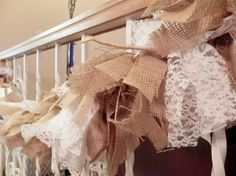 Burlap and Lace Garland Rustic Wedding Decor by RedRobynLane