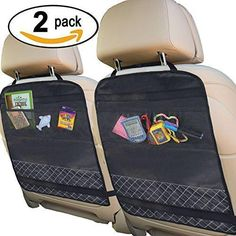 Best Kick Mats with Backseat Organizer Pocket Storage - 100% Waterproof - 2 Pack