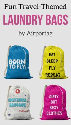 Best Travel Accessories Alert!  Affiliate Discover the fun Travel-themed  Laundry bags by 93b13dfc28564