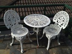 Table 2 Chairs White Cast Iron Outdoor Setting Ebay