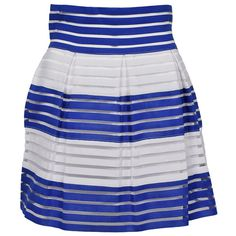 Forever Lily Royal & White Stripe Ribbed A-Line Skirt ($15) ❤ liked on Polyvore featuring skirts, striped a line skirt, striped skirt, white striped skirt, stripe long skirt and a-line skirts