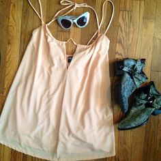 ⚡ NASTY GAL BABYDOLL DRESS⚡️ Nasty gal light melon dress, so soft and comfy! Babydoll fit with two straps and halter that can be worn multiple ways. Adjustable. Lined. Fits true to size. Never worn out! NWOT. Nasty Gal Dresses