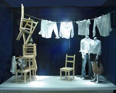 chairs, fans and clothing lines Window Displays for Gap by ANTLRE INC. #laundry…