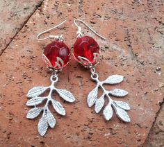 Red Berries & Frosted Silver Leaf Earring by SinginHoundBeadz, $17.50