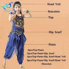 Flickor Bukdansdräkter Set Kids Belly Dance Suit Indian Dancer Performance  Outfits Barn Oriental Clothing Size S-XL daea17c08ed36