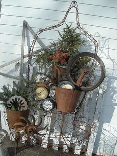 Lovely junk used to make a Christmas display...