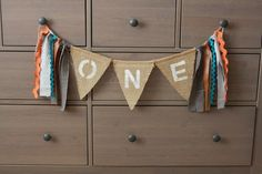 Burlap Banner Baby Birthday One Year Old Boy Tribal Nursery by SmallPeanuts, $15.00
