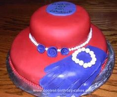 Homemade  Red Hat Birthday Cake: This red hat birthday cake was made for a very good friend's 50th birthday surprise party. This cake was made with a 6 inch pan on top of a 10 inch pan