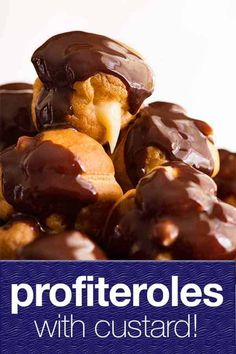 There are few things in life as delightful as biting into homemade profiteroles! Crispy, light pastry balls filled with custard or cream, drizzled with chocolate. Just Desserts, Delicious Desserts, Dessert Recipes, Yummy Food, Eclairs, Croissants, Recipetin Eats, Recipe Tin, Recipes