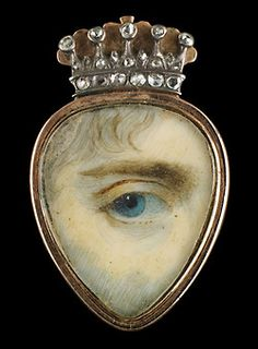 It is said that in the 18th and 19th centuries, wealthy british and european lovers exchanged 'eye miniatures' - love tokens so clandestine that even now it is almost impossible to identify their recipients or the people they depict. They were meant to be worn inside the lapel, near the heart.
