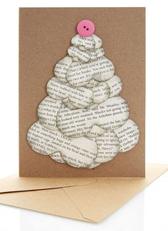 """This Christmas tree card made out of Harry Potter pages. 
