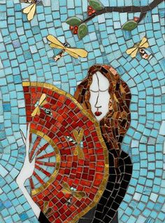 high priestess in mosaic art - Irinia Charny. The Fan ( mosaic with glass, gold, porcelain )