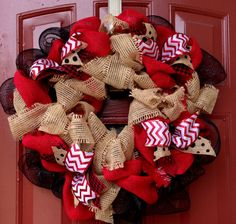 This is a Disney Minnie Mouse inspired Fall Burlap with Red chevron pattern ribbon by Welcome Home Wreath , $55.00