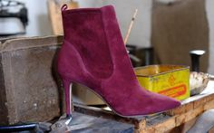 Grape suede ankle boots from Gianvito Rossi autumn winter 2014. shop.wunderl.com