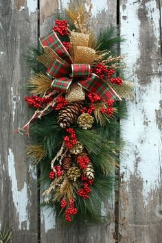 Christmas Swag, Plaid and Gold Ribbon, Gold Pinecones, Icy Branches