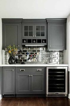 Kitchen Remodel Ideas Dry Bar w/glass front mini fridge, mirrored subway tiles- great idea for remodel of outdated wet bar. Mini Bars, Sweet Home, Basement Remodeling, Basement Ideas, Modern Basement, Rustic Basement, Basement Stairs, Kitchen Remodeling, Basement Decorating