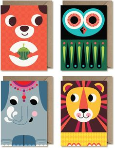 stylized, retro, colour, squirrel, owl, lion, elephant, cute