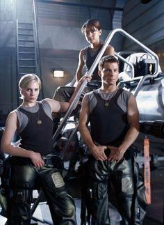 Jamie Bamber, Grace Park and Katee Sackhoff in Battlestar Galactica (2004)