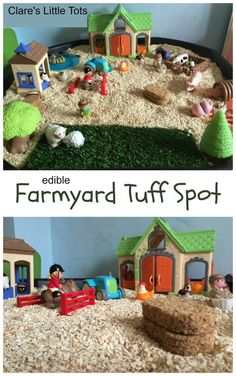 Farmyard tuff spot. Fun and edible small world play idea for imaginative and creative play. Toddlers and preschoolers will love this giant farm, great for messy and sensory play.