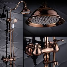 Quality Dofaso luxury bath waterfall faucet shower rose gold shower sets golden sprinkle retro suit copper wall shower antique faucets with free worldwide shipping on AliExpress Mobile Shower Rose, Gold Shower, Shower Taps, Shower Fixtures, Rain Shower, Shower Bathroom, Gold Faucet, Copper Bathroom, Bathroom Faucets