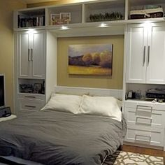 Bedroom. Superb White Cabinets For Tiny Home Interior Space Idea Feat Modern Murphy Bed With Overhead Lighting Design.