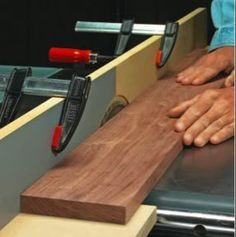 """Table saw jointer jig. Sacrificial fence made from MDF with laminate """"outfeed"""" table."""