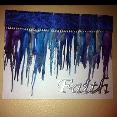 My crayon art! I did one in blues and one in reds that says Family on it. I hot glued the crayons on, then used spray glue to glue on the metal words that I found at Hobby Lobby for $3.50. Then I used my blow dryer and melted the crayons to my liking. I sprayed it with a clear coat and the glued a matching ribbon around the crayons (I did not take the wrappers off the crayons), I used white and silver crayons w my blues. I love it!!!! Crayon Crafts, Crayon Art, Diy Crafts, Spray Glue, Gun Art, Melting Crayons, Glue Gun, Fun Time, Hobby Lobby
