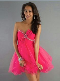 Hot Pink Bow Short Prom Dress