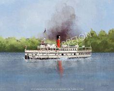 "RMS Segwun - 11"" x 14"" Digital Painting Print - segwun painting - cottage print - muskoka print - print of segwun ship - canadian print - lake - summer"